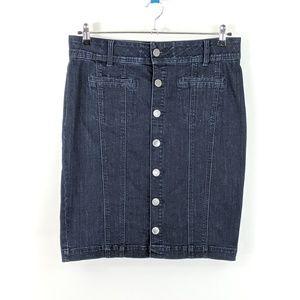 LaneBryant Pencil Skirt Button Front Denim Stretch